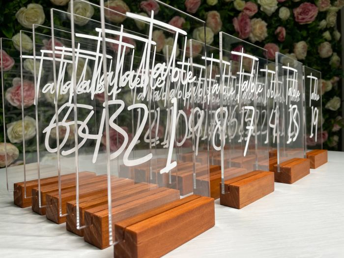 Acrylic Table Number w Wooden Base